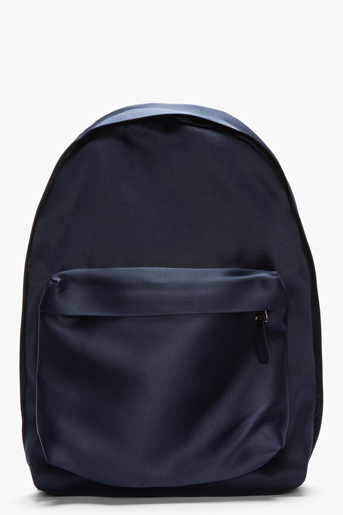 Raf Simons navy satin backpack. How luxurrrious.