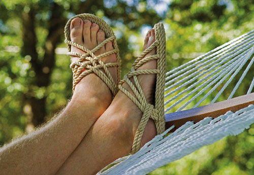 Rope sandals are made for hammocks, and for being 10
