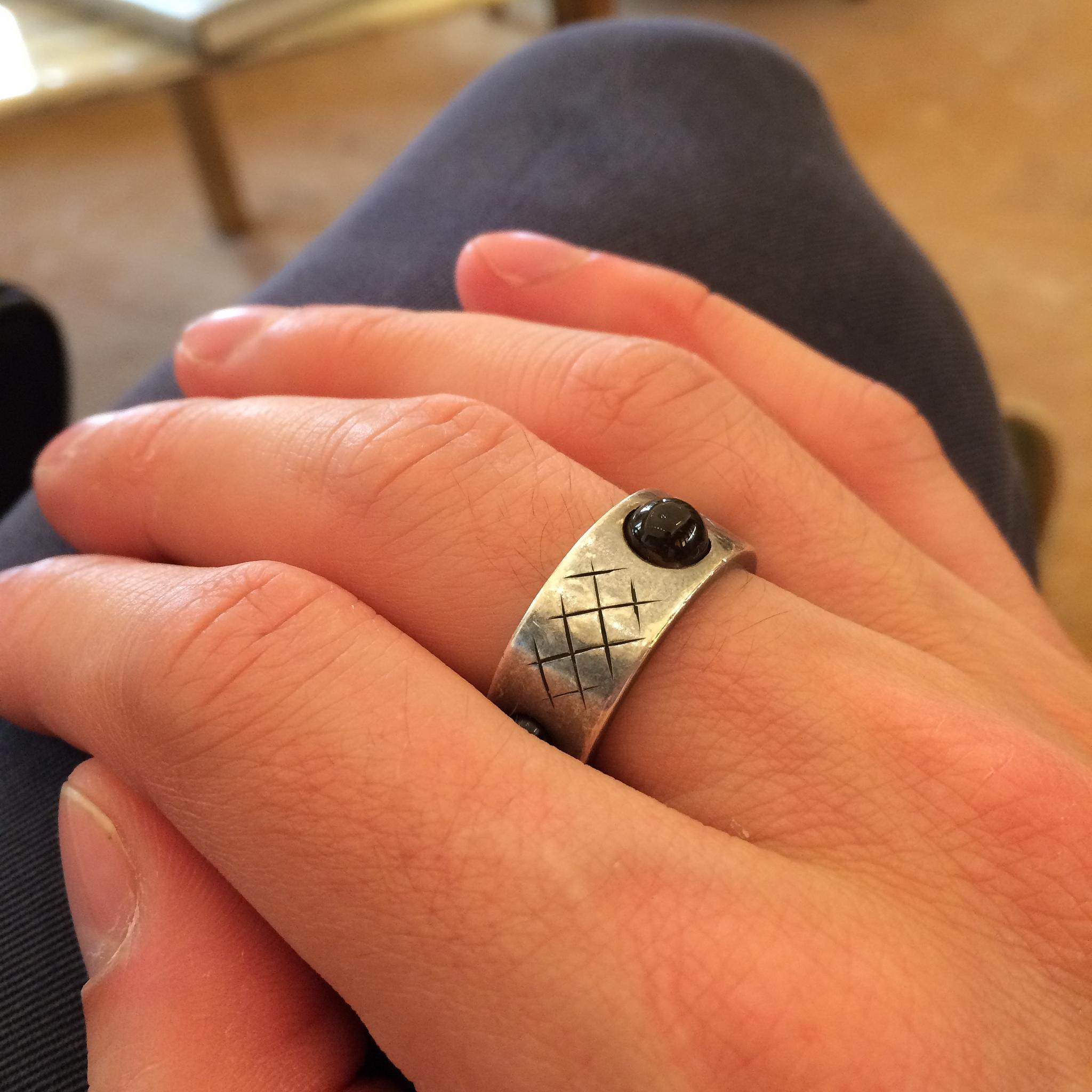 467ab44944 Bottega Veneta men's sterling silver ring with smoked quartz stones